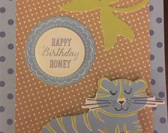 Happy Birthday Honey Card with Tiger Design Handmade