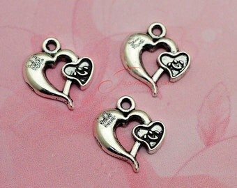 20PCS--23x20mm ,Heart Charms, Antique Tibetan silver Heart to Heart  Charm pendants , DIY supplies,Jewelry Making