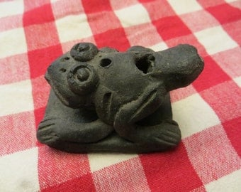 Pottery Frog clay stamp seal vintage