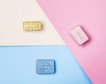 Pastel Nice Bourbon Custard Cream Biscuit Enamel Lapel Pin Bundle