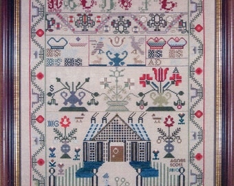 Agnes Scott 1810 Reproduction Sampler by With My Needle Counted Cross Stitch Pattern/Chart