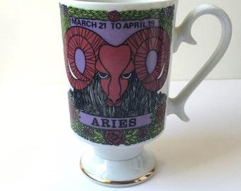 Vintage Zodiac Smug Mug Aries Glass Cup