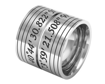 Custom Coordinates Couple Band Ring, Silver Coordinate Ring, Latitude Longitude Ring, Matching Wedding Bands, Location Ring, Couples Rings