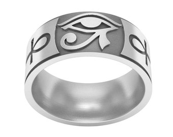 Eye of Horus Silver Ring, Eye of Horus Jewelry, Ankh Ring, Ankh Jewelry, Key of Life Ring, Egyptian Symbol Ring, Wedding Band Ring