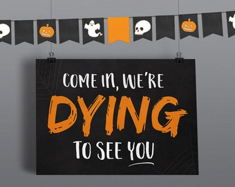 Halloween Party signs and bunting  - Halloween Printable Decorations - Halloween Party Decorations - Halloween Party - Kids Halloween Adults