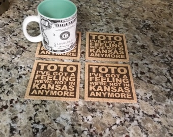 WIZARD OF OZ Movie Quote Art - Toto I've Got A Feeling We're Not In Kansas Anymore Coasters Set of 4