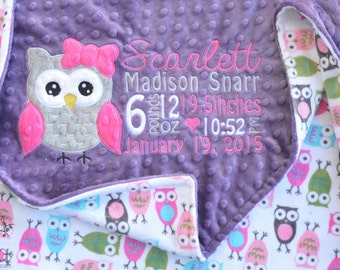 Personalized Baby Minky Blanket - Baby Minky blanket - Choose Minky Color - Baby Blanket.