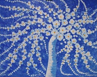 White and Blue Blossom Tree