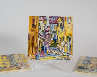 Vintage Hand Painted Ceramic Art Tile From Portugal - Lisboa Antiga - Set of 3