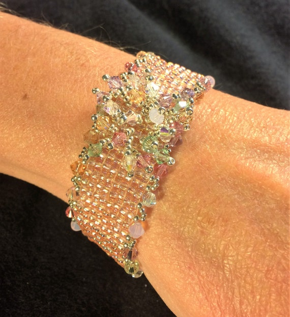NO 82 Hand woven Crystal and Glass beaded Bracelet