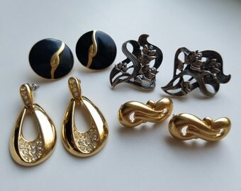True Quality Vintage Jewelry - Large Earrings - Retro 1970's/1980's Chic Classics for Pierced Ears. - Gold, Silver, Black