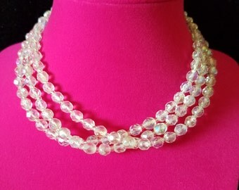 Gorgeous! Antique and Unique. One of a Kind Vintage 1940's/50's Victorian Style Clear Crystal Bead Choker Necklace with Adjustable Clasp
