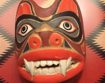 Miniature carved wood Pacific Northwest Coast Bear Clan Mask