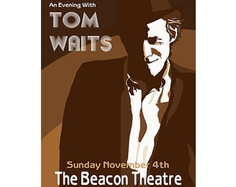 Tom Waits Live Poster, Graphic Print