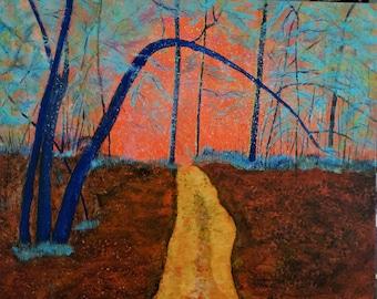 Original Acrylic Textured Painting of Autumn Wood Landscape.