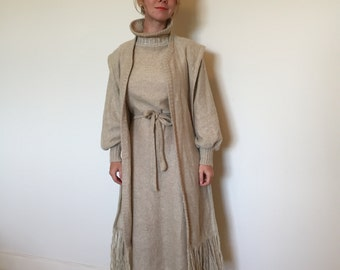 Retro 70's Natural and Cream 100% Wool Sweater Dress and Shawl Scarf