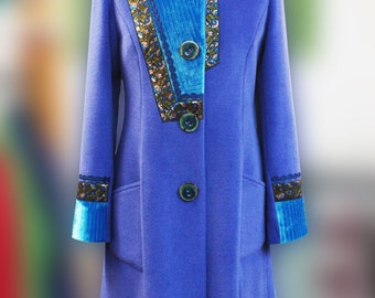 Woman blue cashmere wool coat