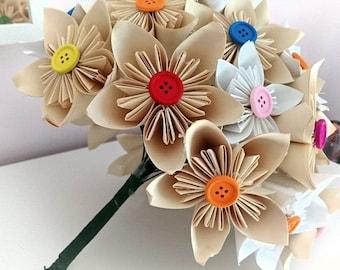 30 Paper Flower Origami Bridal Bouquet