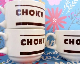 3 cups choky. Vintage. Mugs. Sixties. Chocolate.tea.