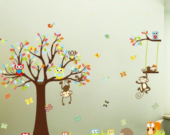 Monkey Owl Wall Decal - Nursery Kids Wall Sticker Decor | PP205
