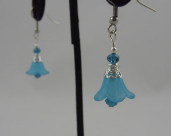 Blue Flower Dangling Earrings
