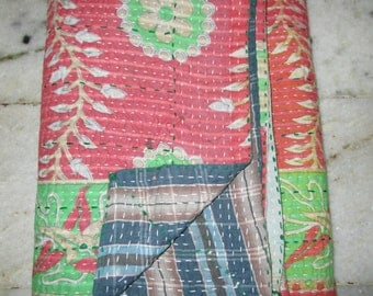 Vintage Kantha Quilt, Exclusive Handmade Cotton Blanket Traditional Indian Gudri, Bedspread, Throw, Free International Shipping