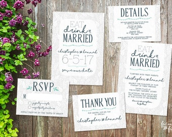 Eat Drink and Be Married printable, Rustic wedding invitation, printable wedding invitation set, wedding invite, Save the Date