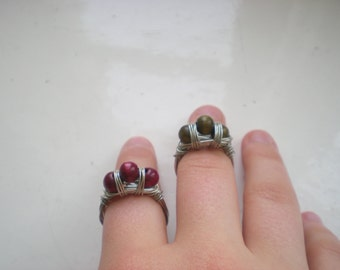 Three wooden pearls ring