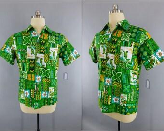 Vintage 1960s Hawaiian Shirt / 60s Aloha Shirt / Men's Shirt / Vintage Mid-Century Menswear / Green Hawaiian Print / Royal Hawaiian