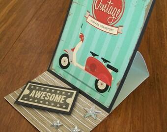 Vintage Red Motorbike Single Easel Card WG8