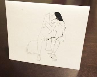 Lesbian Kiss Card // Lesbian Anniversary Card, Lesbian Wedding Card, Lesbian Lovers Card, Lesbian Engagement, Lesbian Valentine, LGBT Card