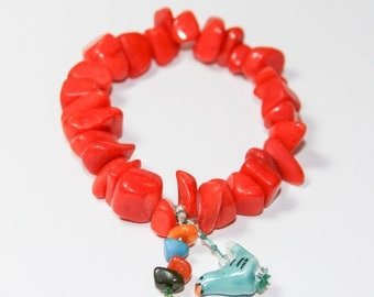 Coral Hibiscus Inspired- Stone Stretch Bracelet With Charm Dangles