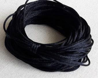 "50"" Black Satin Cord, Handmade Necklace, Black Necklace, Black Jewelry, Craft Necklace, Handmade Jewelry"