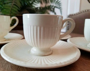 Wedgewood Edme Footed Demitasse Cup and Saucer Set of 4