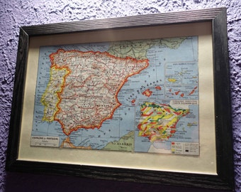Old map of the Spain (1948) - original vintage the Spain and Portugal in 1948 color map (21cm x 29, 7cm)-sold box