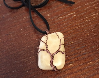 Yellow Calcite Crystal Tree of Life Wrapped Necklace