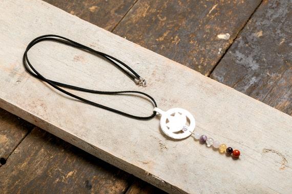 Long necklace OM lotus and 7 chakras - Money 925 - Yoga/Meditation