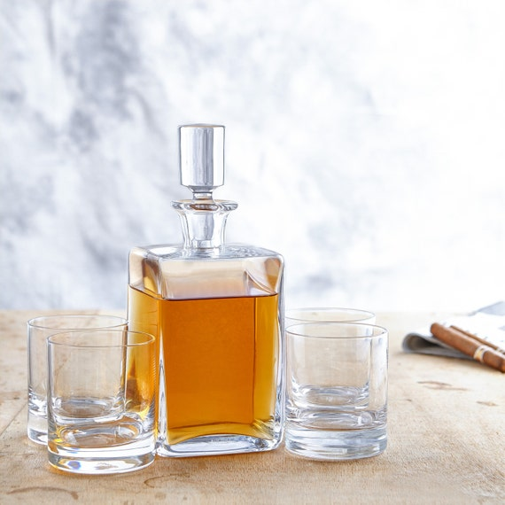 Whiskey Set - Cuboid Shape – Whisky Decanter with 4 Tumblers