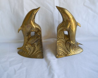 Dolphin Bookends..Solid Brass