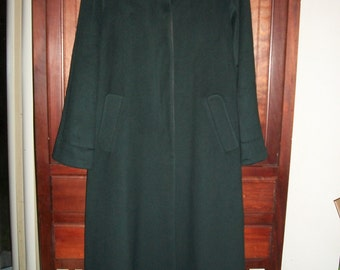 Womens Vintage Talbots Forest Green Wool Dress Coat Size 10