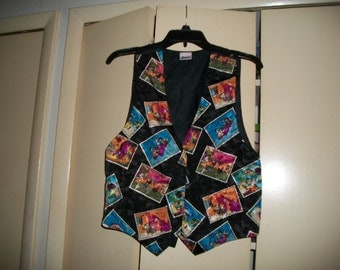 Vintage 1994 Black/Multi-Color Flintstones Novelty Vest Size S