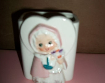 Vintage 1950 White/Pink Ceramic Planter with Little Girl on Front