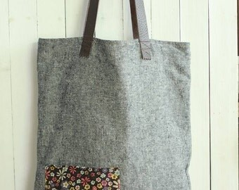 Cute gray cotton floral handbag, shopping bag