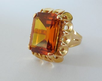 Gold 18 CT, Madeira Citrine ring