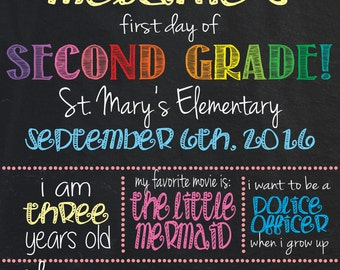 First Day of Second Grade Poster/Sign: Editable
