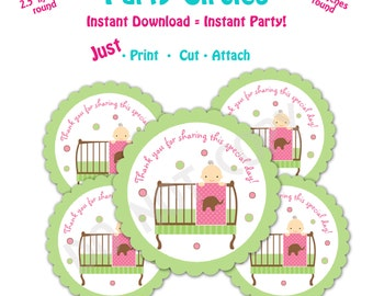Baby Shower Favor Tags -- Instant Download - Printable Baby Shower Party Circles