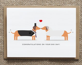 Wedding - Silly sausage - Sausage dog - Greetings Card - Congratulations