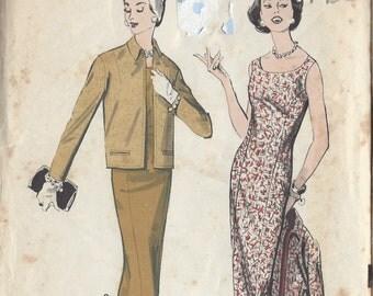 "1950s Vintage Sewing Pattern B32"" DRESS & JACKET (168) Advance 8639"