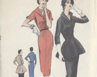 "1955 VOGUE Vintage Sewing Pattern B34"" DRESS & PEPLUM (R74)  Vogue 8685"