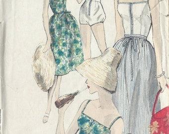 1950s Vintage VOGUE Sewing Pattern B36 W28 BATHING SUIT & Skirt (R921) Vogue 9995
